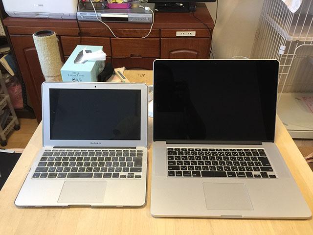 MacBook Pro 15インチとMacBook Air 11インチ