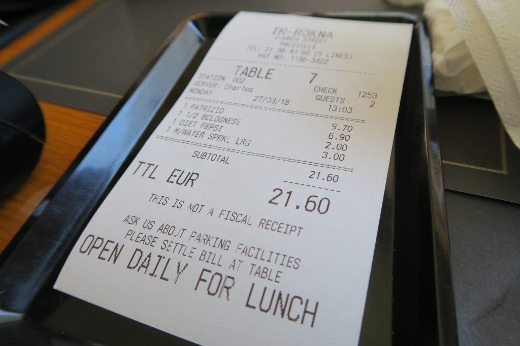 Ir Rokna Restaurant and Pizzeria レシート